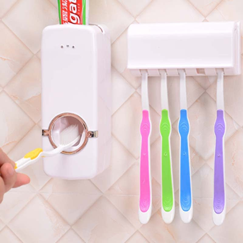 Baby Care Grooming & Healthcare Kits Design Bathroom Facility Automatic Toothpaste Dispenser Family Toothbrush Holder Set Baby Care Grooming & Healthcare Kits