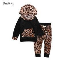 2017 г., модный чудесный Леопардовый свитер с длинными рукавами для маленьких мальчиков и девочек, комплект из пальто с капюшоном и штанов, оде...