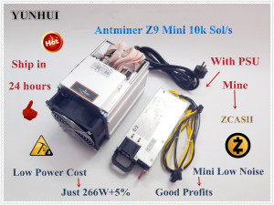 YUNHUI Used Antminer Z9 Mini 10k Sol/s 300W ZCASH ZEN ZEC BTG Asic Equihash Miner can Mine ZEN ZEC BTG coin can reach to 14