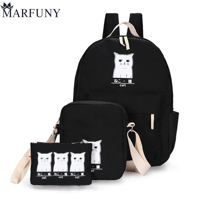 Cute Cats Backpack Fashion 3 Sets Backpack Female Preppy Style Backpacks For Teenage Girls School Bags Women Bag Canvas Mochila lovely starfish canvas handbag preppy school bag for girls women s handbags cute bags