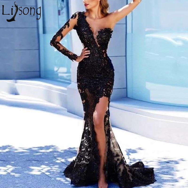 Sexy One Shoulder Mermaid   Prom     Dresses   Black See Through Lace Appliques High Slit Evening   Dress   Formal Gown Abendkleider abiye