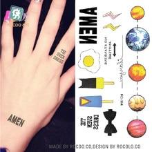 DIY Fashion Temporary Tattoo Stickers Harajuku Body Art Cartoon Drawing Planet Fake Flash Taty Tattoo Water Transfer Tatuaje