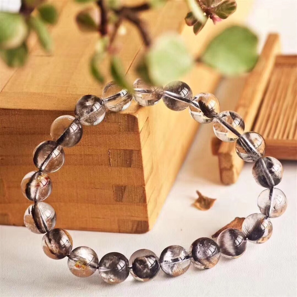 Natural Brookite Platinum Silver Rutilated Quartz Bracelet  (1)