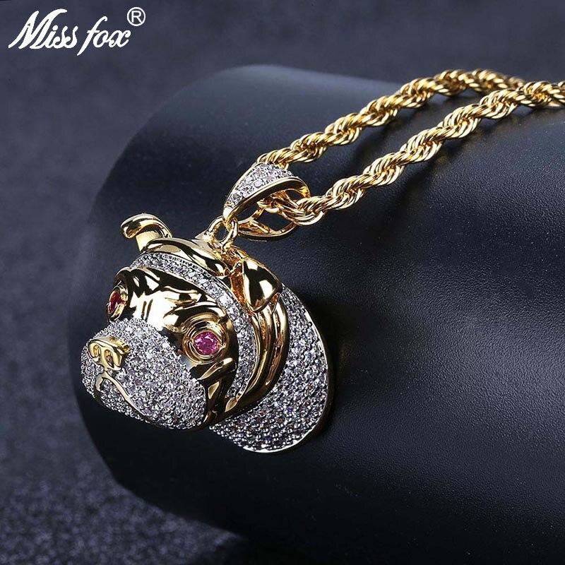 MISSFOX Hip Hop rubis Eye Jingba chien Long collier 24k plaqué or bijoux AAA cubique zircone glacé sur grands hommes pendentif