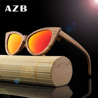 Women Cat Eye Sunglasses Wood Polarized Sun Glasses