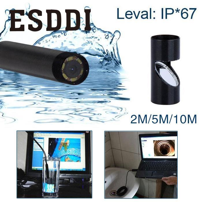 Esddi New 2/5/10M 5MM USB Endoscope Waterproof 6LED Inspection Snake Video Camera Scope Snake Inspection Tube Pipe Mini Cam Gift mini 5 5mm camera diameter dust proof and waterproof recordable video adjustable led lights video and photo browsing