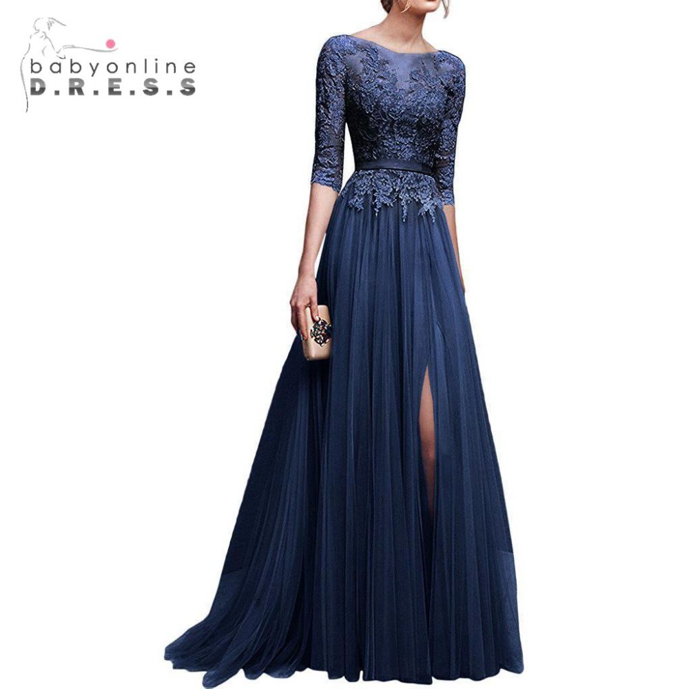 Elegant Side Slit A Line Navy Blue   Prom     Dresses   Long 2019 Beaded Appliqued Tulle Evening   Dresses   Half Sleeves Party Gown   Dresses