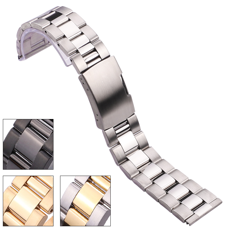 Solid Stainless Steel Watch Band Bracelet 18mm 20mm 22mm 24mm Gold Silver Black Watchbands Accessories 22mm solid stainless steel wristband watch bracelet silver polishing new band for armani ar0399 316l stainless steel