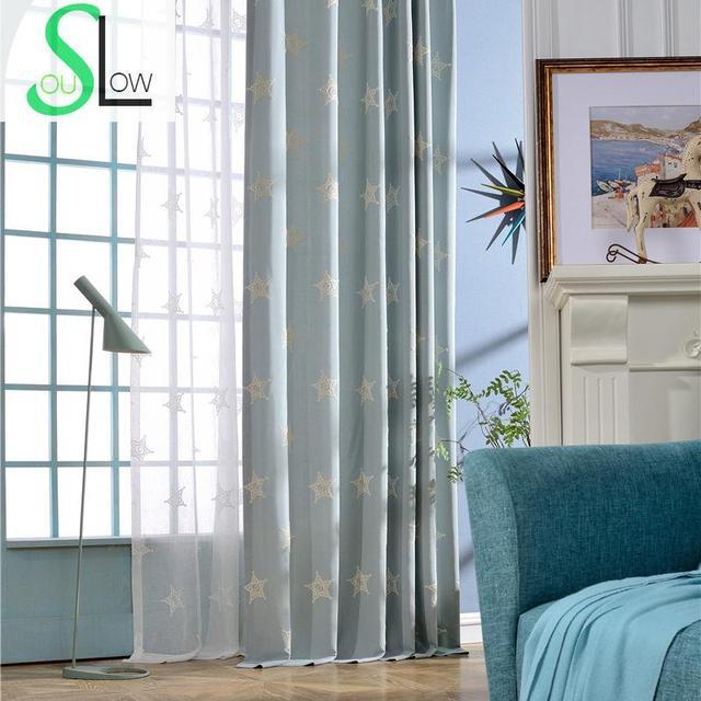 Langsam Seele Blau Beige Vorhang Bestickt Vorhänge Stern Modernen  Minimalistischen Für Wohnzimmer Schlafzimmer Chinesischen Und Tüll