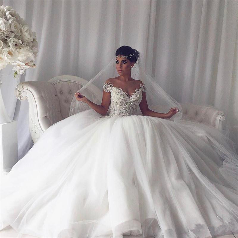 Aliexpress Buy 2017 Gorgeous Beaded Fluffy Ball Gown Wedding Dresses Trouwjurk Robe De Mariage Vestido Novia Arabia Dress From