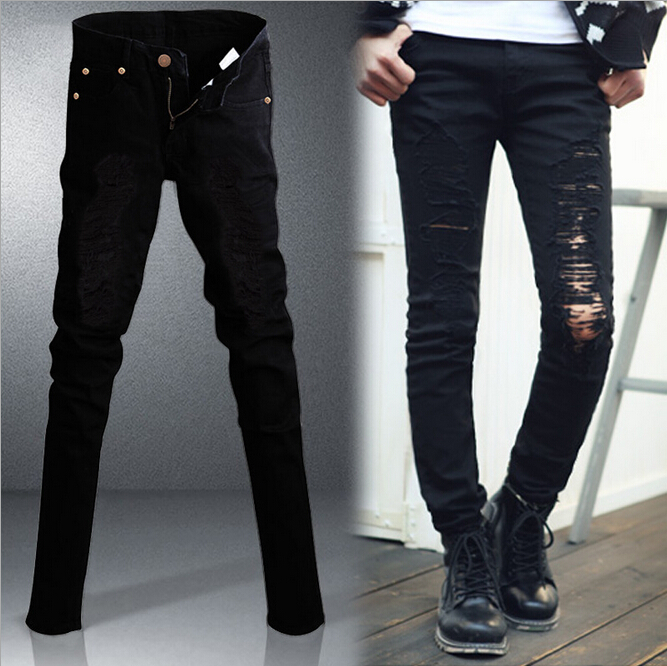 Aliexpress.com : Buy New mens fashion cotton black distressed ...