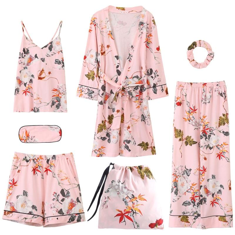 Summer Autumn Winter 7 Pieces Set 100% Cotton Elegant Women Pajamas Full Shorts Long Sleeve Top Elastic Waist Pants Lounge Robe