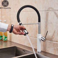 Chrome White Kitchen Faucet Single Lever Pull Down Kitchen Mixer Crane Black Rubber Pipe Hot and Cold Water Tap for Kitchen