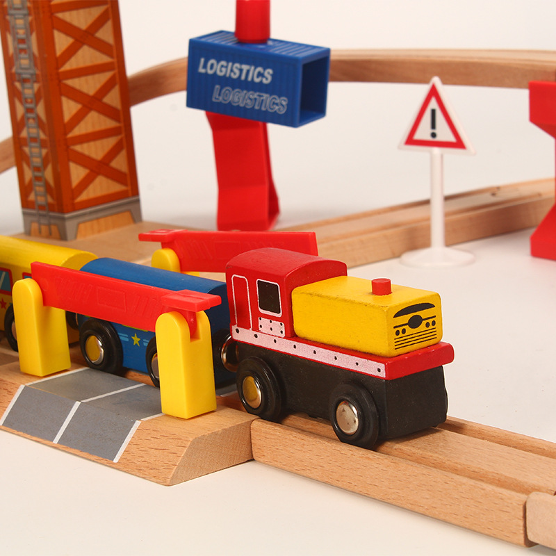 Image 5 - Wooden Train Track Set Wooden Railway In Puzzle With And friends Tracks Rail Transit  Brio Wooden Railway Toys For Kids Gifts-in Diecasts & Toy Vehicles from Toys & Hobbies