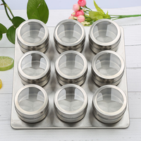 Stainless Steel Magnetic Seasoning Pot Cruet Condiments Spice Rack Pots Set For Spice Pepper Shakers Kitchen Tools