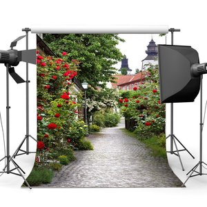 Image 1 - Spring Backdrop Italy Small Town Narrow Street Backdrops Fresh Red Flowers Green Plants Shabby Brick Floor Background