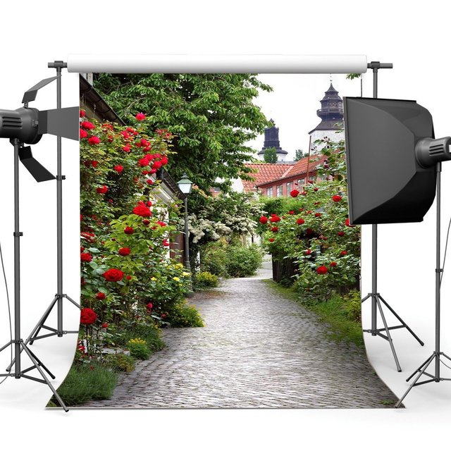 Spring Backdrop Italy Small Town Narrow Street Backdrops Fresh Red Flowers Green Plants Shabby Brick Floor Background