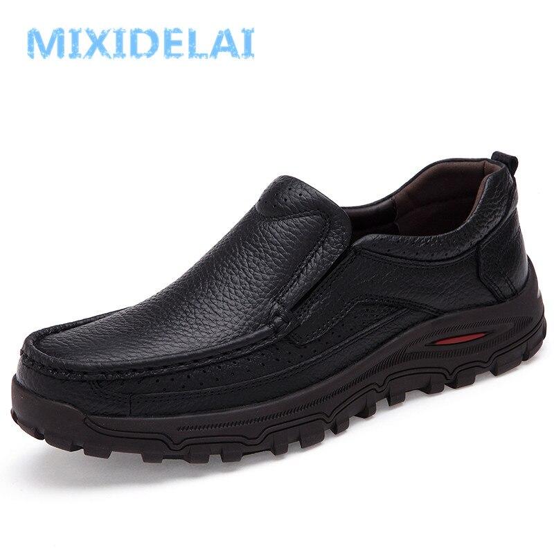 Mixidelai tamanho grande 38-48 dos homens vestido de couro italiano sapatos de marca de luxo dos homens mocassins de couro genuíno mocassins formais