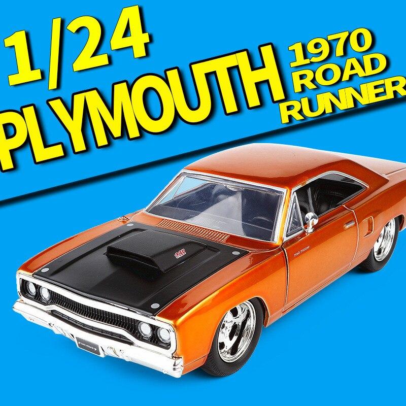 JADA 1:24 Haute simulation alliage modèle de voiture, 1970 Plymouth road runner, qualité jouet modèles, jouet véhicules, livraison gratuite