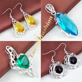 2016 Hot Sale Fashion Silver Plated Crystal Pendants Necklace/Earrings Wedding Jewelry Sets