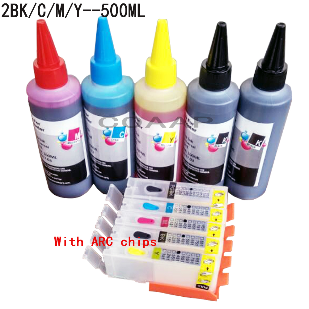 Canon Pixma IP7250 IP8750 IX6850 MG5450s MG5450 MG5550 MG5650 Stampante per cartuccia di inchiostro riutilizzabile + 500 ml inchiostro Dye