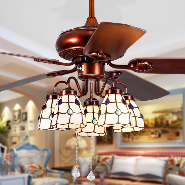 Tiffany Style Light Shade Ceiling Fan Lights With Flower Brown Color 48 Inches Super Quiet