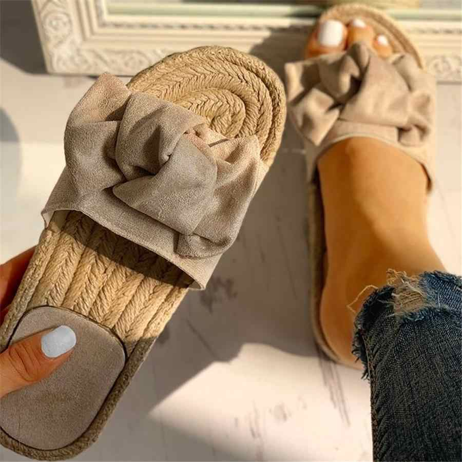 Slippers Women Summer Bow Summer Sandals Slipper Indoor Outdoor Linen -flops Beach Shoes Female Fashion Floral Flat Sandals