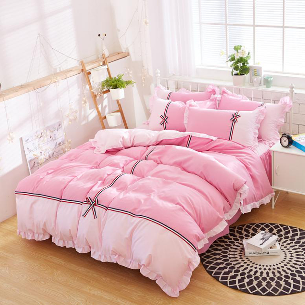Korean Princess Style Polyester Sanding Fabric Duvet Cover Bed Sheet Set Bow Knot Lace Design Girl
