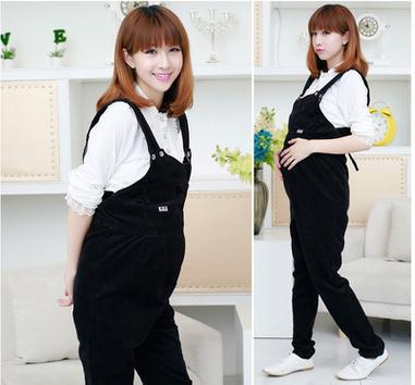 Korean Maternity overalls  cute bear  zipper abdominal braces pregnant women pants SH-W 246