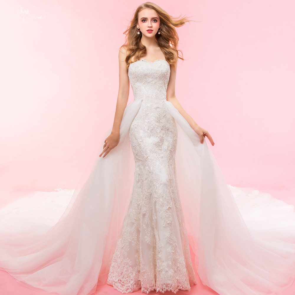 RSW1328 Fotos Reais Yiaibridal Duas Peças Lace Sereia Destacável Saia Vestido De Noiva
