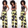 2016 новая мода высокого качества женщины лето сексуальная клуб черный танк топы и урожай цветочные печати сплит брюки две пьесы устанавливает костюмы