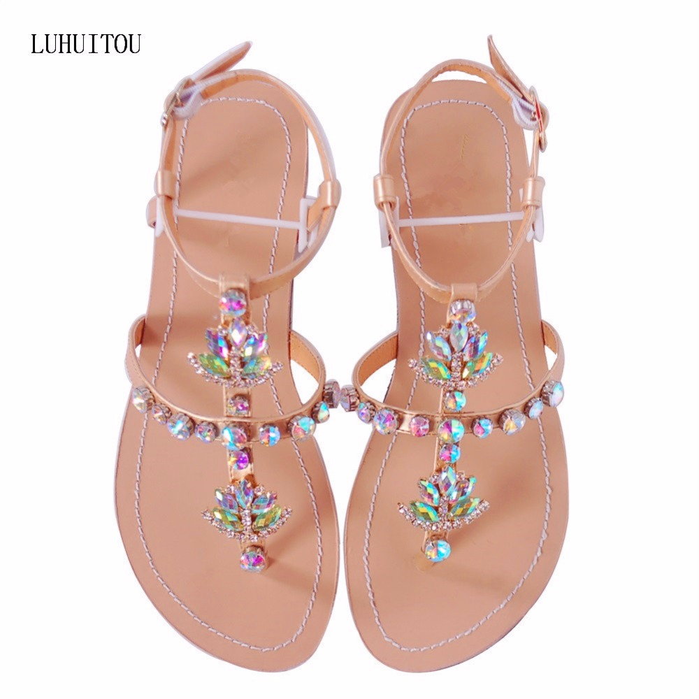 2018 NEW Women`s Summer Bohemia Diamond Sandals Women Beach Shining Rhinestones  Shoes T-strap Thong Flip Flops Comfortable