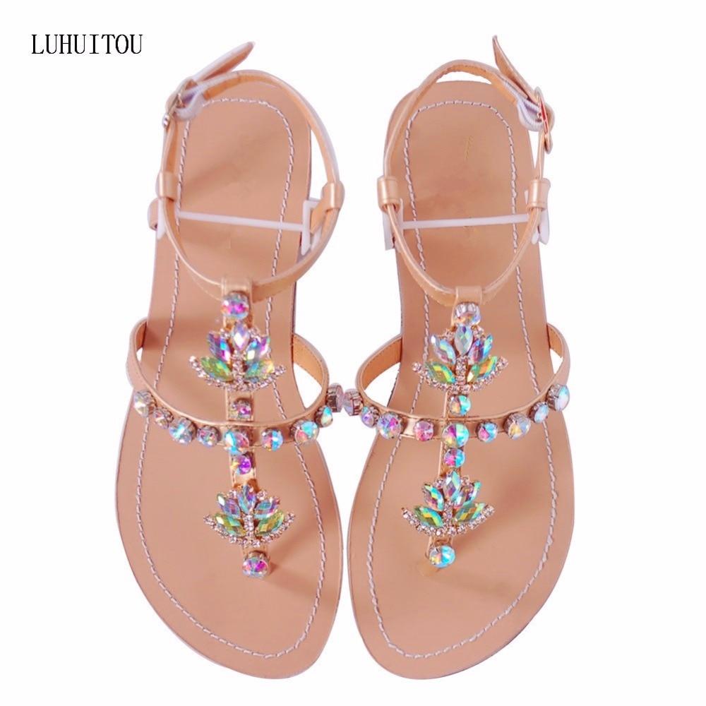 0318b5a4ea25a 2018 NEW Women`s summer bohemia diamond sandals women beach shining  rhinestones shoes T-