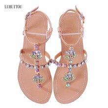 2018 NEW Women`s summer bohemia diamond sandals women beach shining rhinestones  shoes T-strap thong flip flops comfortable