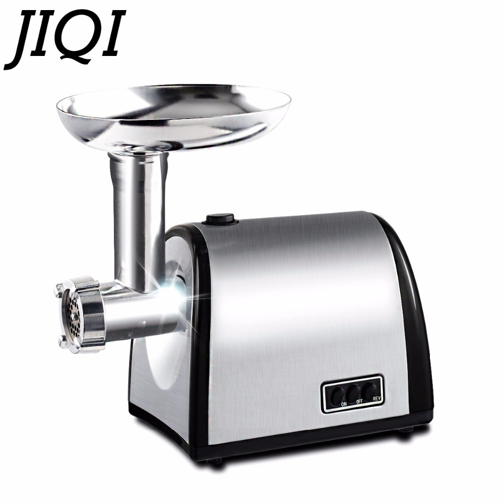 лучшая цена JIQI Stainless steel household electric meat grinder slicer cutter vegetable mincer chopper sausage filler food filling machine