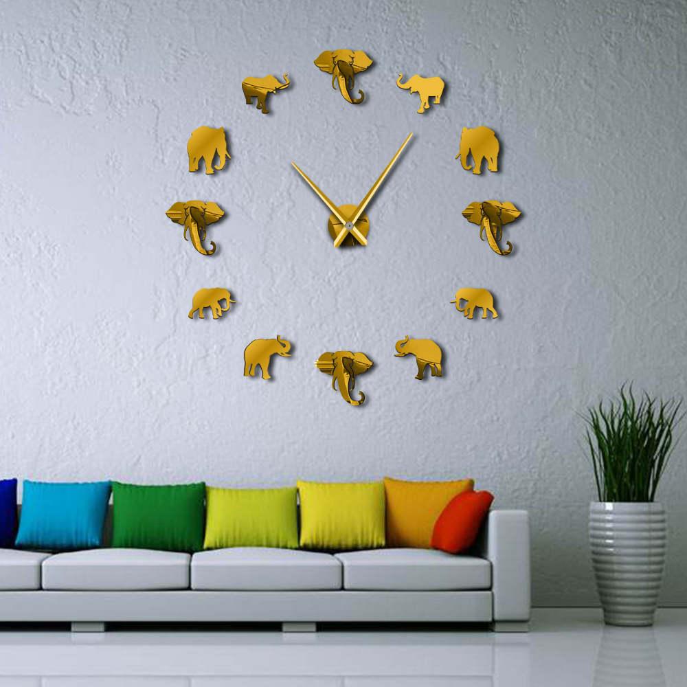 DIY Слон wall art Акриловые Безрамное гигантский настенные часы с зеркальной поверхностью эффект Большой висит часы декоративные дома гостиная спальня - Цвет: gold 088