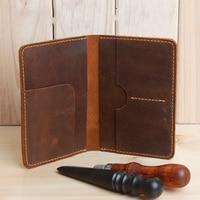 Handmade Crazy Horse Men Passport Cover 100 Genuine Leather Passport Holder Male Quality Pasaporte Porte Carte