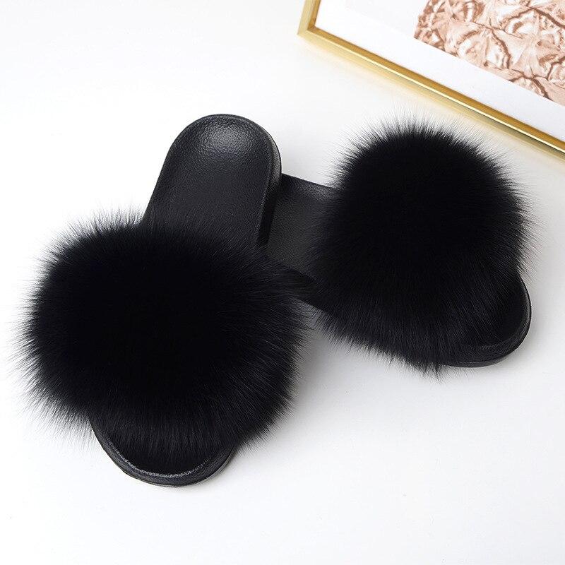 Pelo de zorro zapatillas mujeres piel esponjoso hogar deslizadores felpa verano pisos dulce señoras zapatos tamaño grande 45 Venta caliente lindo Pantufas