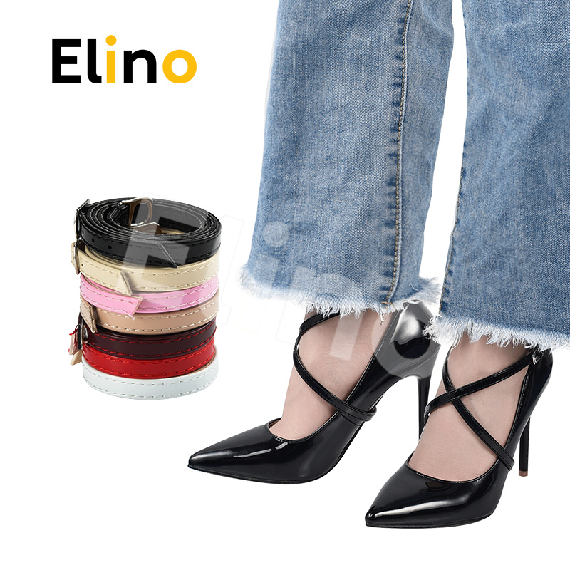 Elino 1 Pair 58cm PU Leather Shoelace For Women High Heels Ankle Shoe Strap Metal Buckles Shoe Lace Tie Foot Care Accessories