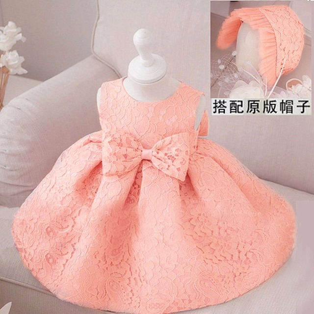 d29dd14d1cd61 Retail Fashion Formal Newborn Wedding Dress Baby Girl Bow Pattern For  Toddler 1 Years Birthday Party Baptism Dress +cap Clothes-in Dresses from  Mother ...