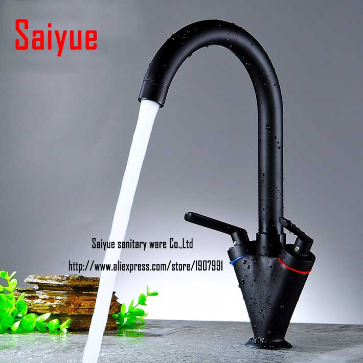 360 degree rotating copper Black painting kitchen faucet hot and cold water vegetables basin sink mixer
