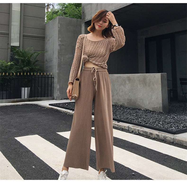 2019 Summer Women New Style Pleated Casual   Pants   Mid Solid Color Lace Up Long   Pants   Elegant Loose Slim Wide Leg   Pants