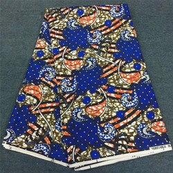Wysokiej jakości poliester wosk tkaniny nigerii wosk z kamienia ankara tkaniny dżetów wosk materiał 6 metrów wosk tkaniny na wesele