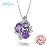 L Zuan 925 Sterling Silver Necklace Natural 4 18ct Amethyst Pendant Purple Stone Jewelry With Sternling