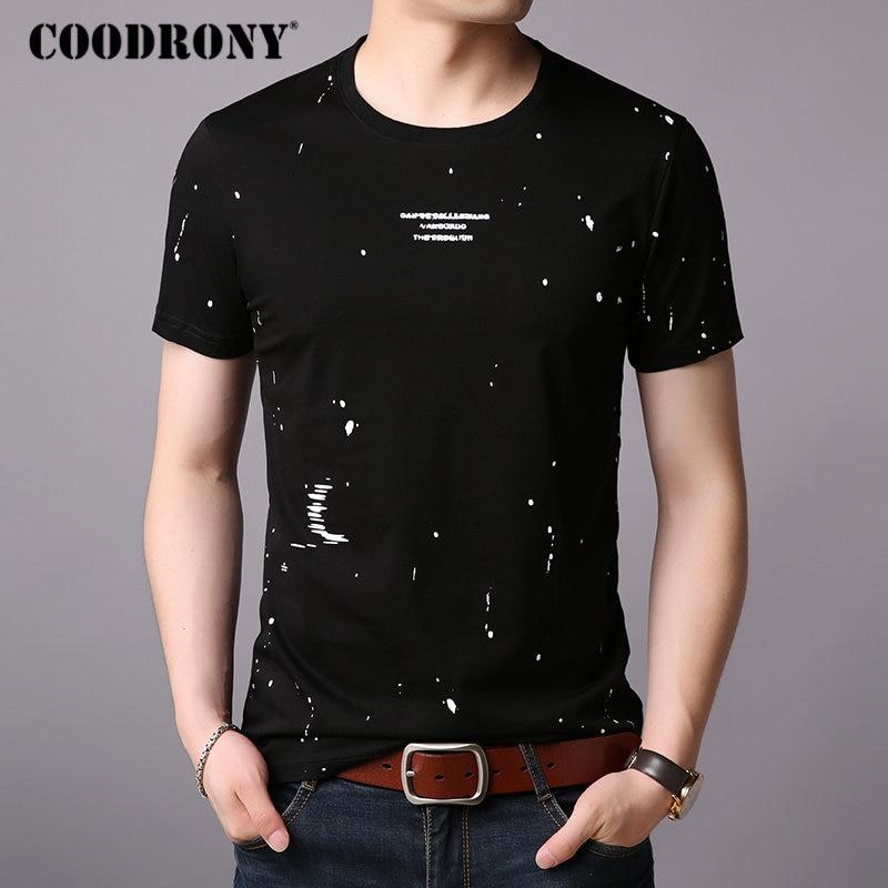 COODRONY Cotton T Shirt Men Fashion Dot Short Sleeve T-Shirt Men 2019 Summer New StreetWear Casual O-Neck Tee Shirt Homme S95008