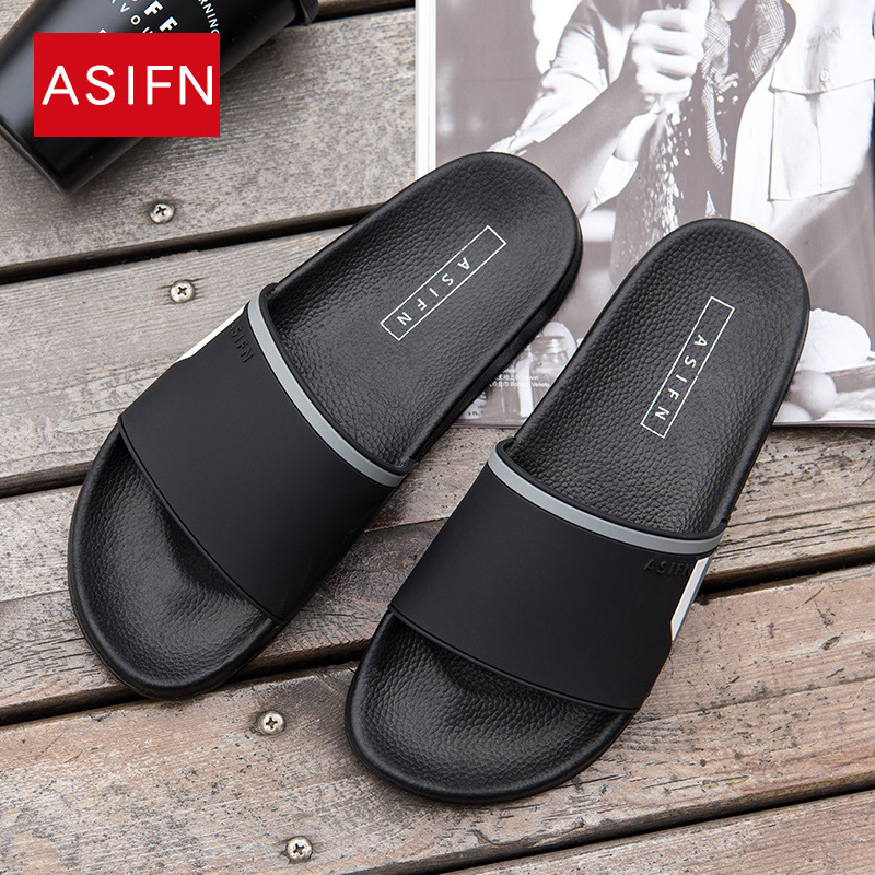 ASIFN Men's Slippers Beach Male Flip Flops Female Non-slip Summer Slides Summer Home Sandals Couple  Mules Women Sepatu Pria