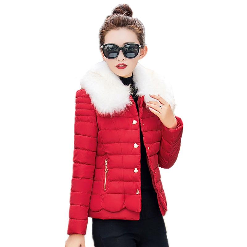 New Winter Jacket Women Outerwear Slim Fur Collar Solid Down Parkas Jacket Woman Warm Cotton Padded