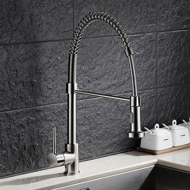 Brushed Nickel Brass Pull Down Kitchen Faucet Sprayer Spring Kitchen Mixer  Pull Out Kitchen Sink Tap