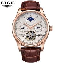 Relogio Masculino LIGE топ-бренда мужские часы moon phase механические часы мужчины моды случайные бизнес часы Relojes Hombre
