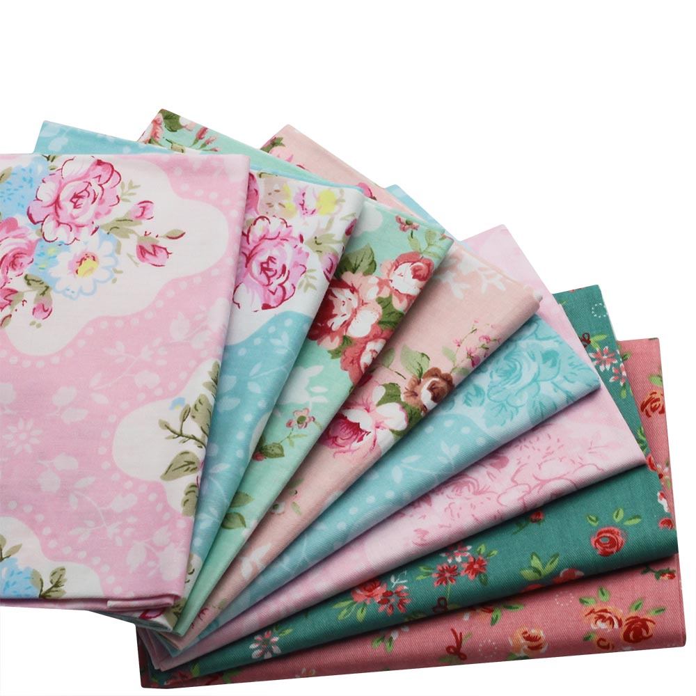 8pcs Four-color flower fabric Cotton Fabric for Patchwork Sewing Tilda Doll Cloth Telas 40x50cm/100x160cm